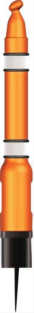 Pfosten mit Erdspieß orange mit Reflektorman. STRECKE Bild 1