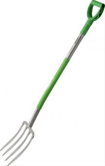 Spatengabel Ergoline Stahlstiel + D-Griff grün Bild 1