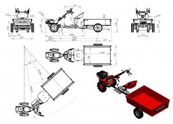 Anbau Kippanhänger ANV-200 für Motoreinachser Raptor Bild 4