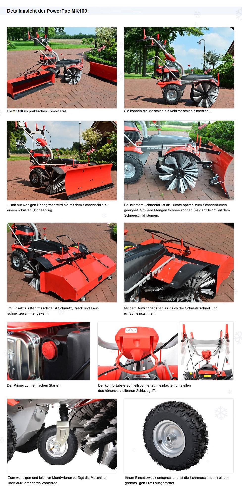 Powerpac Einachser Kehrmaschine Schneeschieber Komplettset MK100 Bild 3
