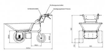 Powerpac Multi Caddy / Multi Dumper Elektro MCE400 1000W Mulde 110L Bild 2