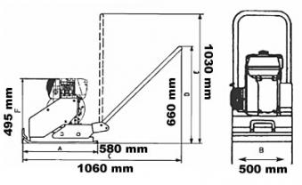 Powerpac Rüttelplatte Vorlauf VP1450BW/500 Benzin mit Wassertank Bild 2