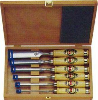 Stechbeitelsatz 6-tlg. Holzkasten Kirsche Bild 1