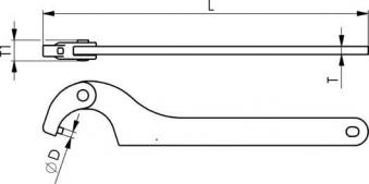 Gelenk-Hakenschlüssel 60- 90mm m.Zapf. 5mm AMF Bild 2