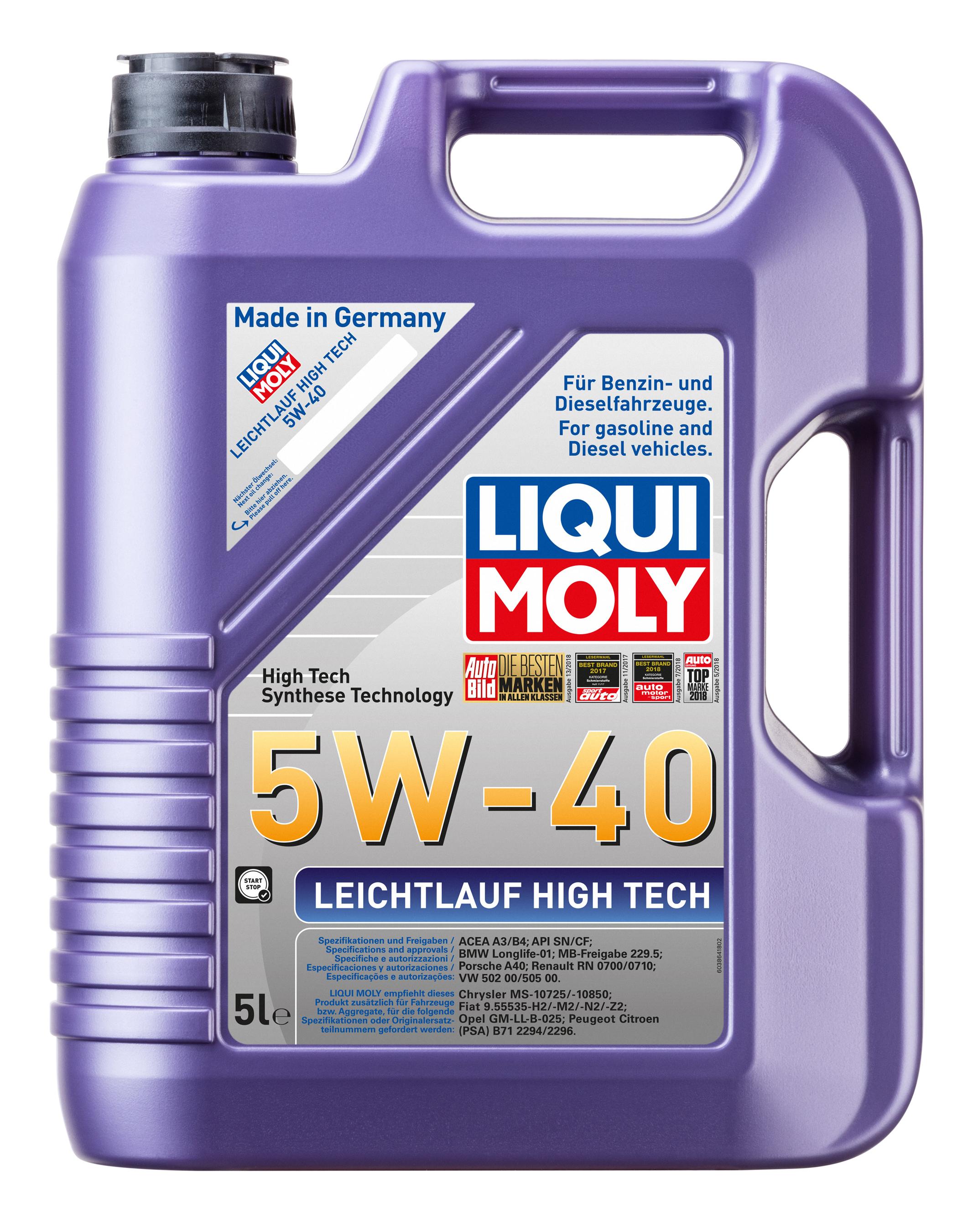 Liqui Moly Leichtlaufmotoröl Leichtlauf HighTech 5W-40 5 Liter Bild 1