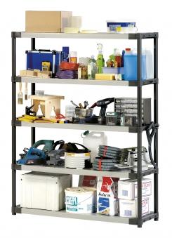 Grosfillex Kunststoffregal Workline XL120/5 beige/grau 120x40x175cm Bild 1
